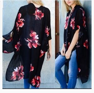 NEW Long Black and Red Floral Kimono